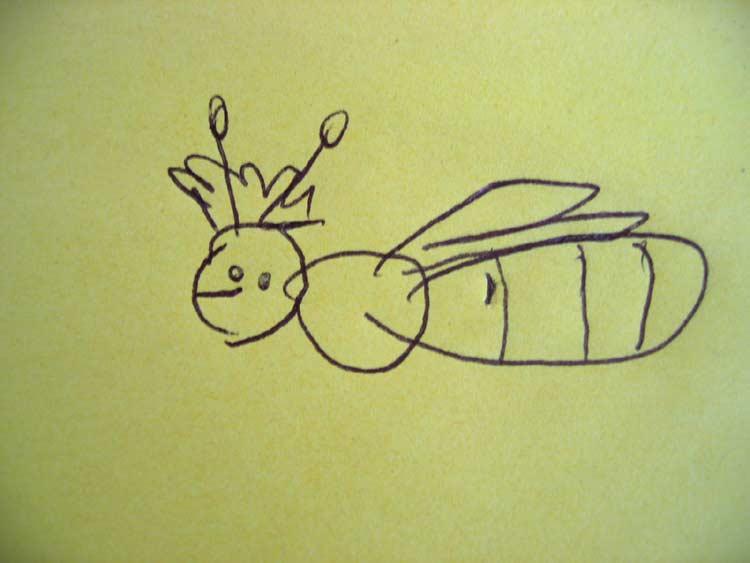 Madline Lui malte am 19. April 2008 im Alter von 4 Jahren und 5 Wochen diese Bienenkönigin. Ganz allein und ohne Vorlage!!!